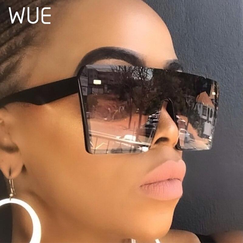 WUE 2019 gafas de sol cuadradas de gran tamaño superiores planas de moda Retro para mujer gafas de sol de gradiente azul para hombre gafas Vintage de Marco grande UV400