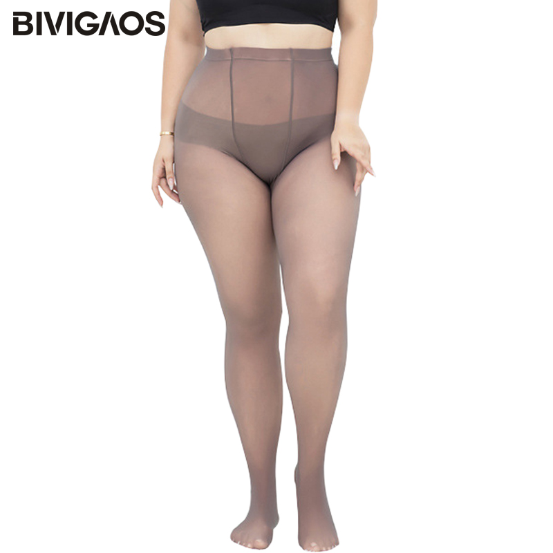 BIVIGAOS 2019 New Large Size Women's Leggings Autumn Winter Fake Transparent Gray Sexy Leggings Plus Size Women Modis Legginsy