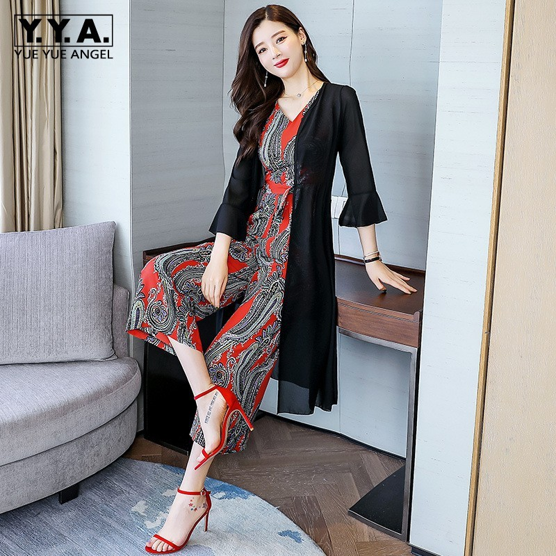 Summer Fashion Elegant Women 2Pcs Sets Sleeveless V-Neck Slim Fit Rompers Three Quarter Sleeve Open Stitch Long Chiffon Shirts
