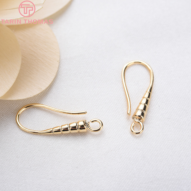 24K Gold Color Plated Carved Earring Hook Jewelry
