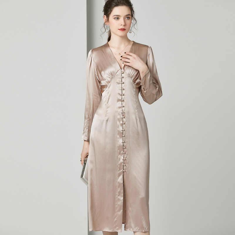 Gül altın yumuşak saten elbise Midi ipek elbiseler kadın bahar uzun kollu elbise V boyun yüksek bel zarif bayanlar vestidos 100% saf ipek