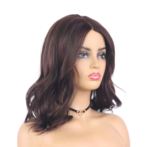 Image 2 - Medium Brown Natural Wave Synthetic Lace Part Wigs For Women X TRESS Shoulder Length Ombre Color Heat Resistant Fiber Hair Wigs