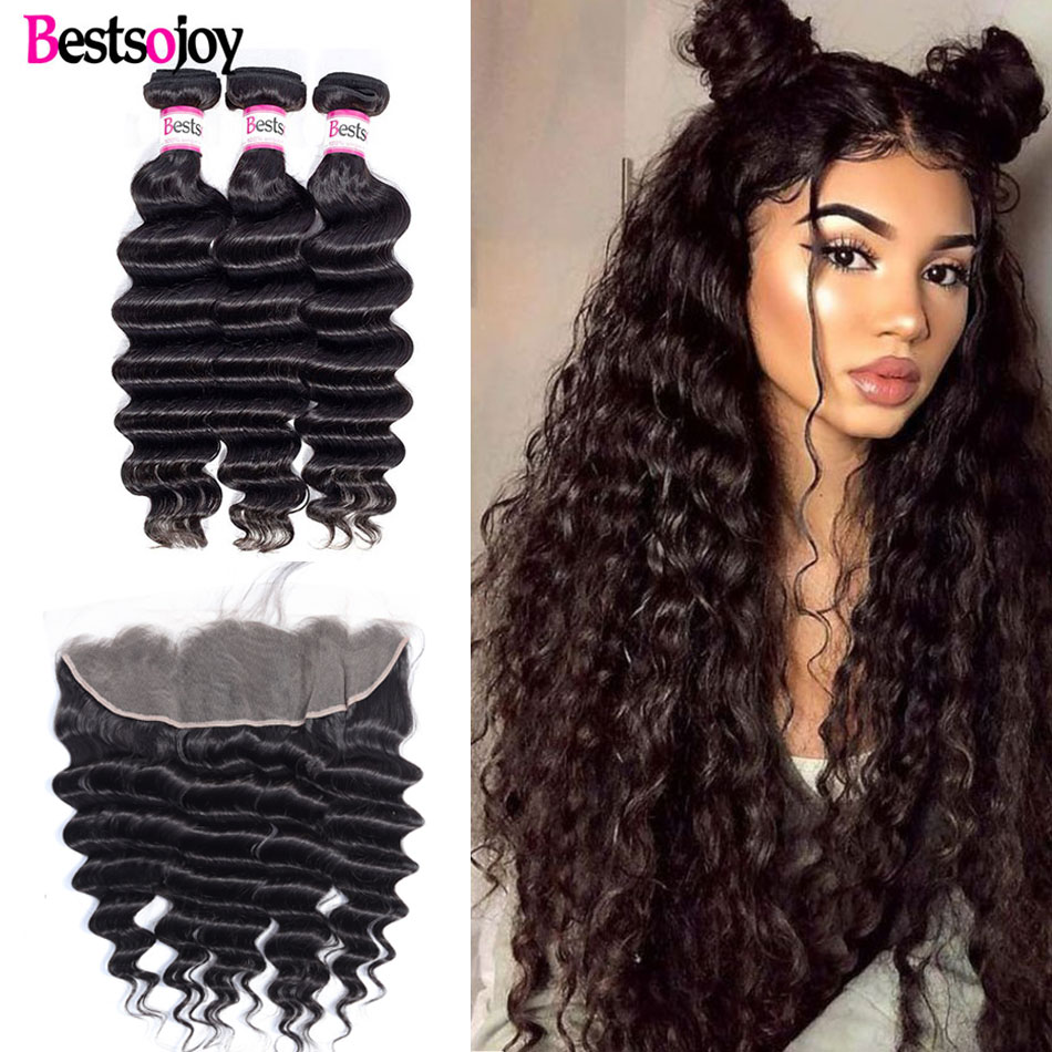 Bestsojoy Loose Deep Wave Bundles With Frontal Brazilian Human Hair 3 Bundles With Closure Remy Hair Lace Frontal With Bundles