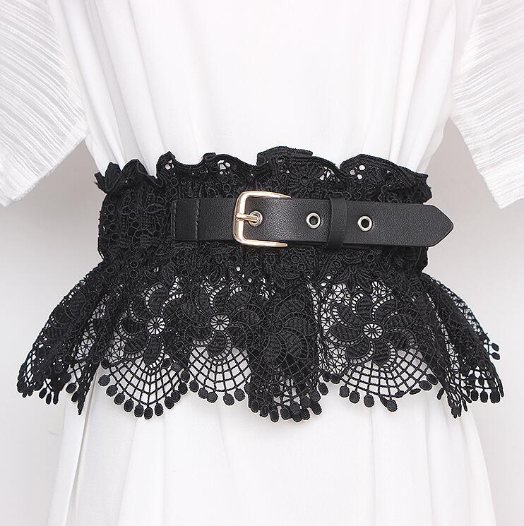 Women's Runway Fashion Elastic Lace Cummerbunds Female Dress Corsets Waistband Belts Decoration Wide Belt R2338