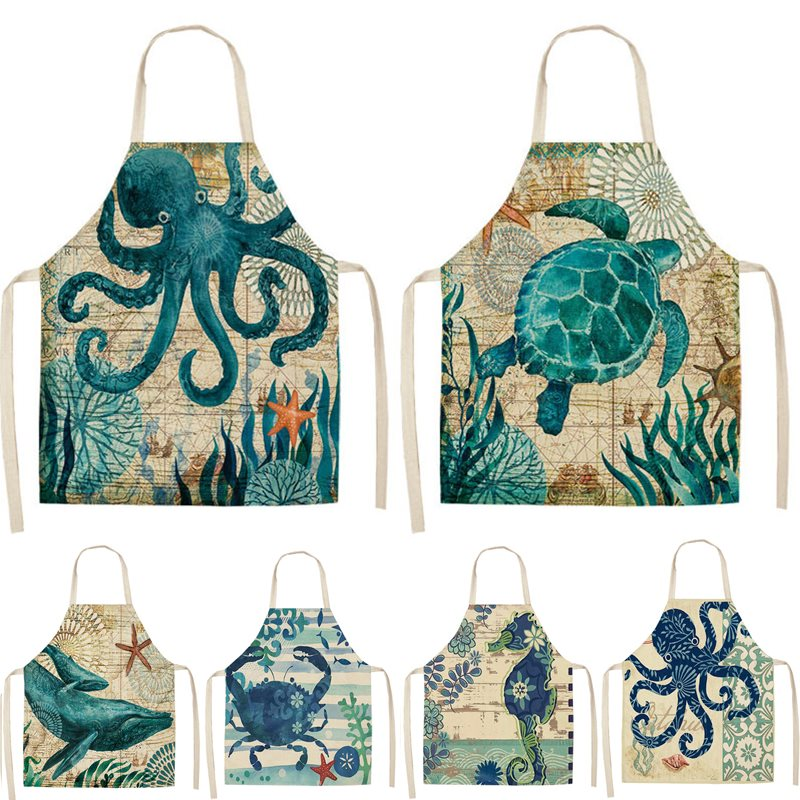 Turtle Fish Printed Kitchen Apron for Women Kids Sleeveless Cotton Linen Bibs Cooking Baking Cleaning Tools 53*65cm GT1299