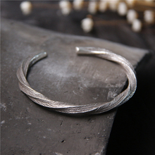 925 Sterling Silver Hand Bracelet Made Of Old Twisted Knitted Wire Opening Solid Womens Jewelry