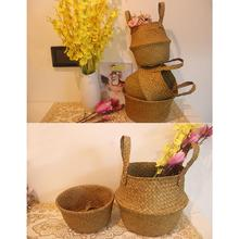 Seagrass Wickerwork Basket Rattan Hanging Flower Pot Dirty Laundry Hamper Storage Basket Dropshipping patimate seagrass wickerwork garden flower pot foldable laundry straw patchwork planter basket bamboo rattan storage baskets