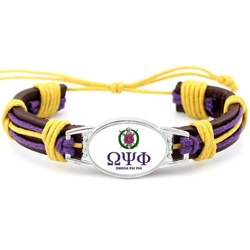 Omegaa Psi Phi Fraternity Charm Genuine Leather Bracelet Hand made Adjustable Bracelets&Bangles Jewelry For Man Woman 10pcs/lot