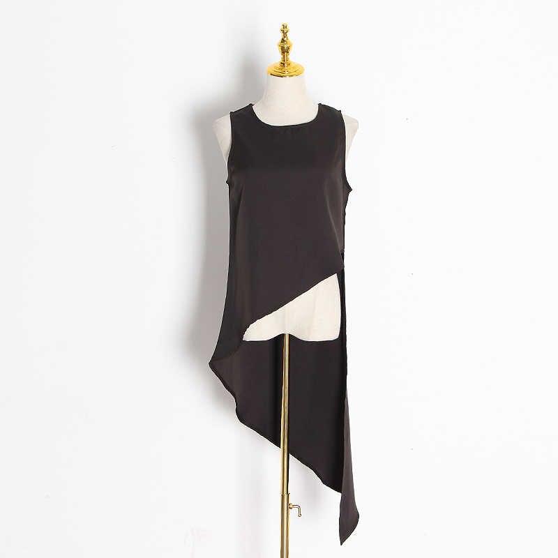 TWOTWINSTYLE מקרית שיפון סדיר חולצה נשים O צוואר שרוולים Loose סימטרי חולצות בגדי אופנה נשית 2020 גאות