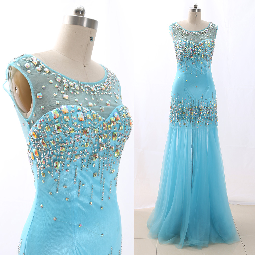 MACloth Sky Blue Sheath O Neck Floor-Length Long Crystal Tulle   Prom     Dresses     Dress   M 266273 Clearance