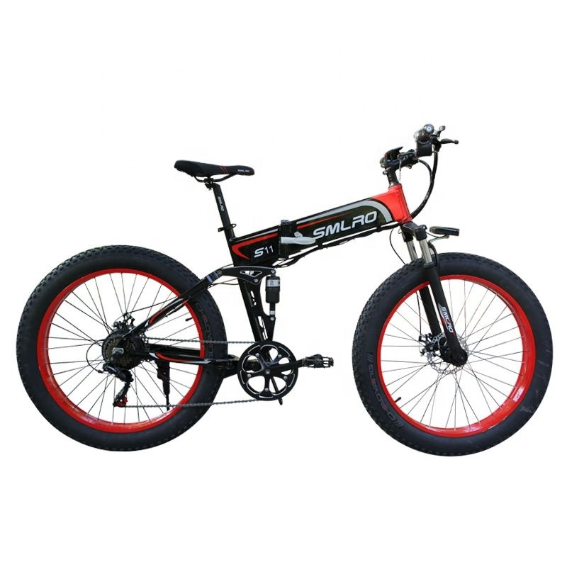 "S11F 26"" 48v 10AH 350W folding fat tire electric bicycle with hidden battery 3"