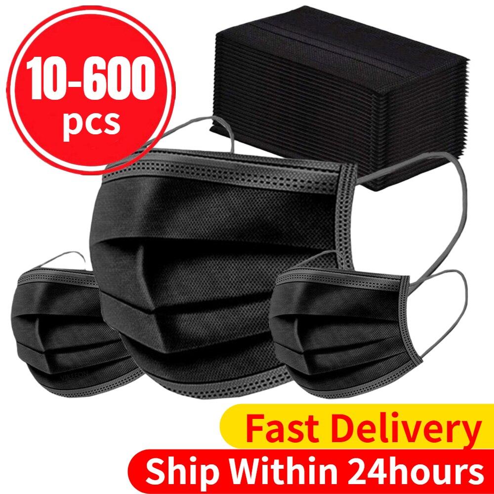 10/20/50/100/200/600 máscaras descartáveis dos pces adulto máscaras faciais não tecidas filtro da dobra de 3 camadas anti-poeira respirável máscara boca preto