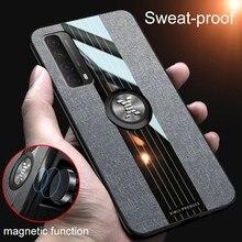 Psmart 2021 przypadku tkaniny tkaniny uchwyt magnetyczny telefon pokrywa dla huawei p smart 2021 6.67 ''silikonowa rama pierścień ochronny przypadku