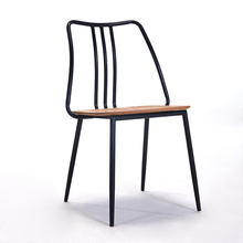 Modern China Wrought Iron Solid Wood Dining Chair Restaurant Suitable for Dining Chair Living Room Office Business Bedroom Chair