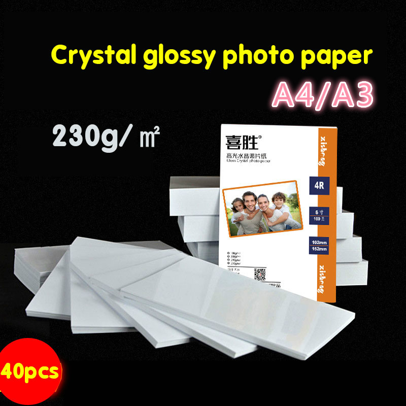 230g Crystal Printer Photo Paper White Bag A3 Color Page A4 Photo Paper Inkjet Printing Photo Paper Waterproof 40 Glossy Paper
