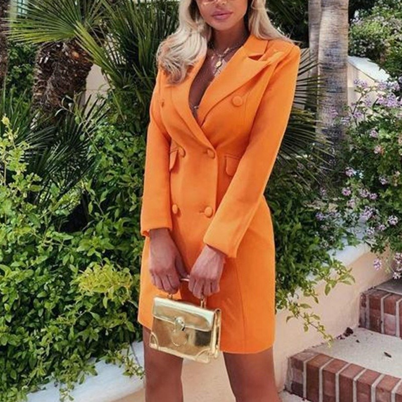 Chic Orange Long Sleeve Elegant Black Blazer Notched Women Tops Double Breasted Office Coat Solid Pockets Casual Outerwear