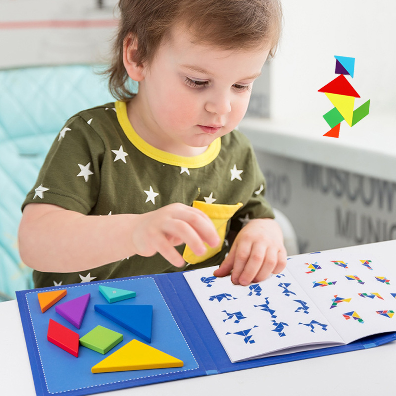 Magnetic Tangram Puzzle Book Portable Preschool Baby Kids Toys Intelligence Jigsaw Puzzle Wooden Educational Toys for Children 2