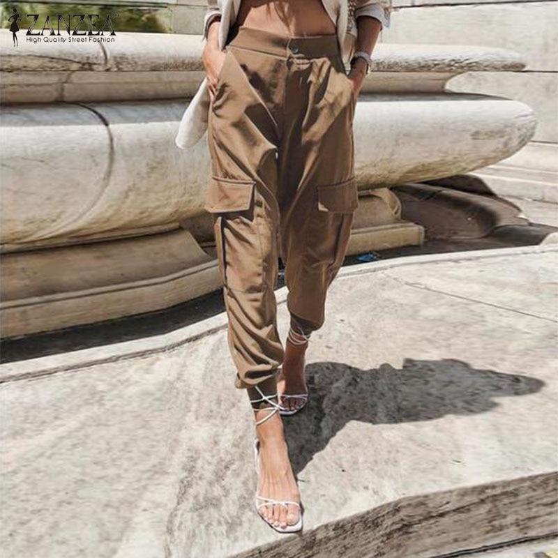 ZANZEA Women High Waist Cargo Pants Loose Streetwear Pants Baggy Tactical Trousers Solid Joggers Turnip Pants Harem Pantalon