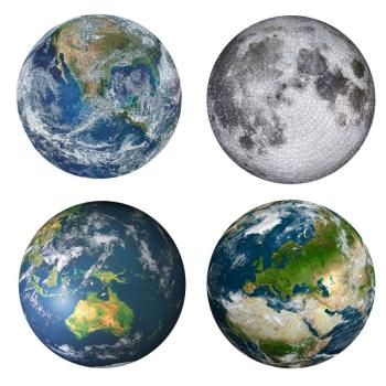 THE COVER IMAGE FOR THE 1000PC ROUND JIGSAW COLLECTION. THREE VIEWS OF EARTH FROM SPACE AND THE MOON