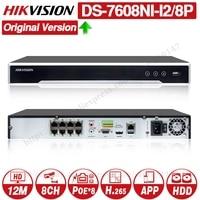 Hikvision Original NVR DS 7608NI I2/8P 8CH 8 POE NVR for POE Camera 12MP Max 2 SATA Network Video Recorder.