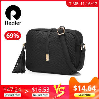 REALER small shoulder bag for women messenger bags ladies retro PU leather handbag purse with tassels female crossbody bag - DISCOUNT ITEM  65% OFF All Category