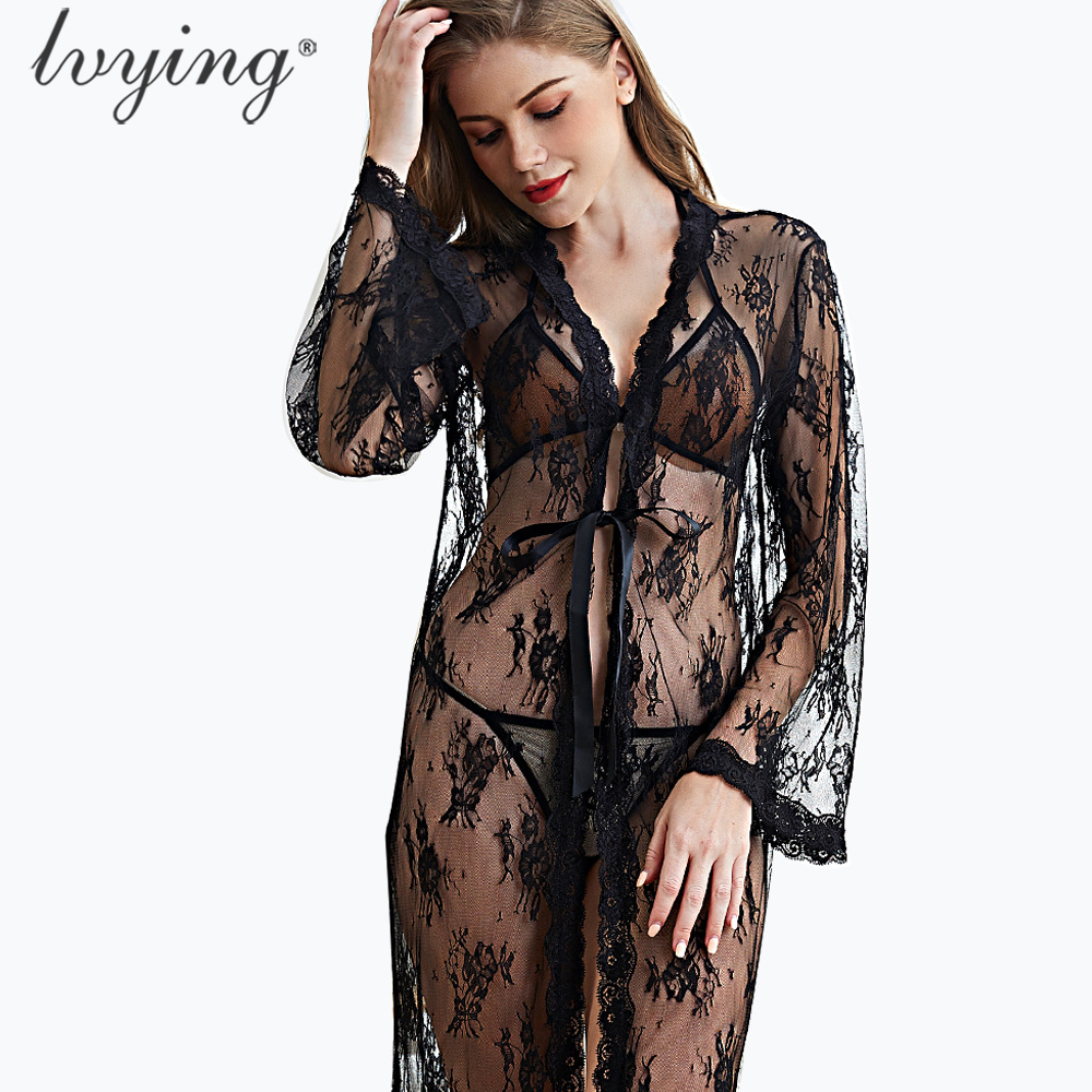 Sexy Lace Bathrobe Female Lingerie Robe Set Women Pyjamas Bra Set Night Dress Sleepwear Bath Robe Nightwear Nightgown Nighty