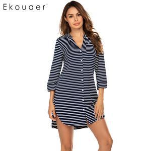 Image 1 - Ekouaer kadın pamuk gecelik yaz kıyafeti v yaka 3/4 kollu çizgili düğme gece elbisesi kadın yumuşak gecelik