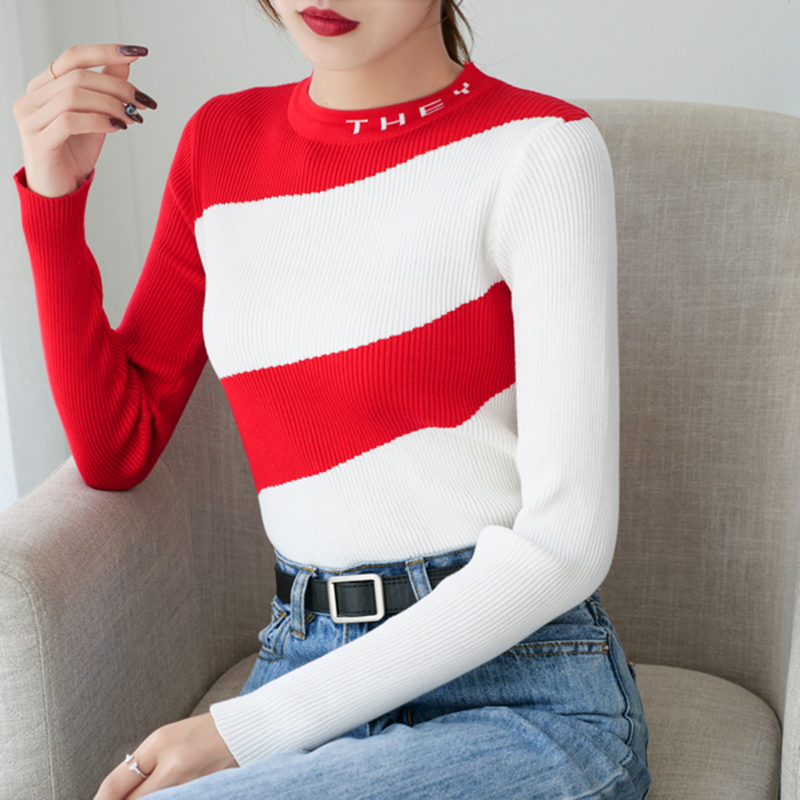 Gkfnmt Female Sweater Pullovers Knitted Autumn Winter High-Elasticity Warm And Patchwork