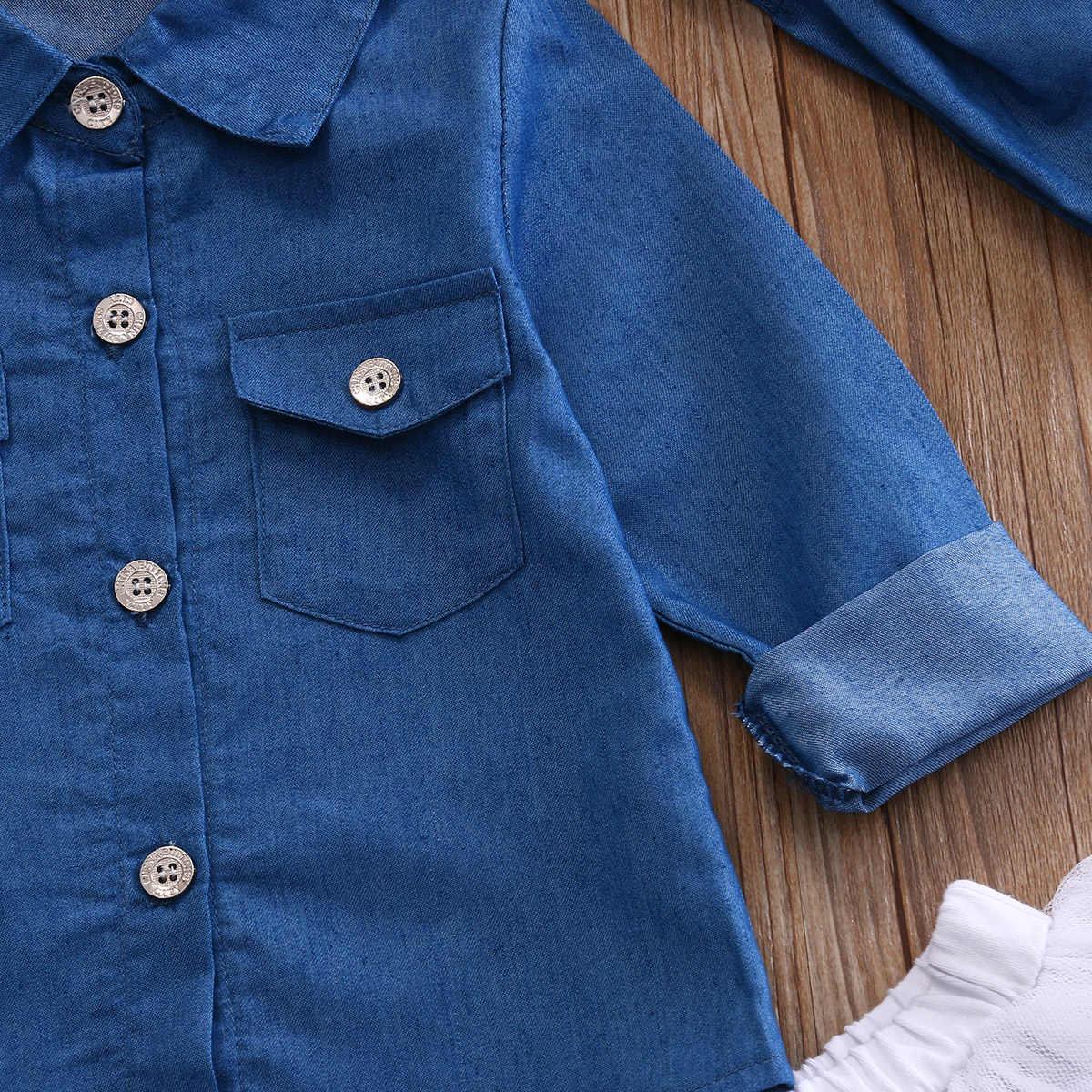 3 قطعة طفل الاطفال طفلة الملابس مجموعة الدنيم القمم تي شيرت توتو تنورة عقال وتتسابق الصيف كاوبوي دعوى الأطفال مجموعة 0-5Y