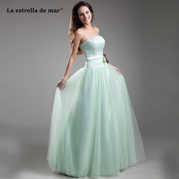 Vestiti eleganti donna cerimonia sera new tulle flower strapless low waist mint green bridesmaid dress long gaun pesta dewasa