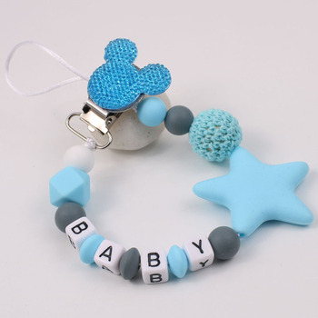 Personalize Name Mouse Head Dummy Clip Pacifier Clips Baby Silicone Pacifier Holder Chain Baby Attache Sucette Gift