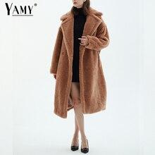 Куртка Тедди пальто из искусственного меха Длинное Красное Белое розовое меховое пальто женское винтажное зимнее пальто с меховым воротником женские элегантные пушистые меховые пальто