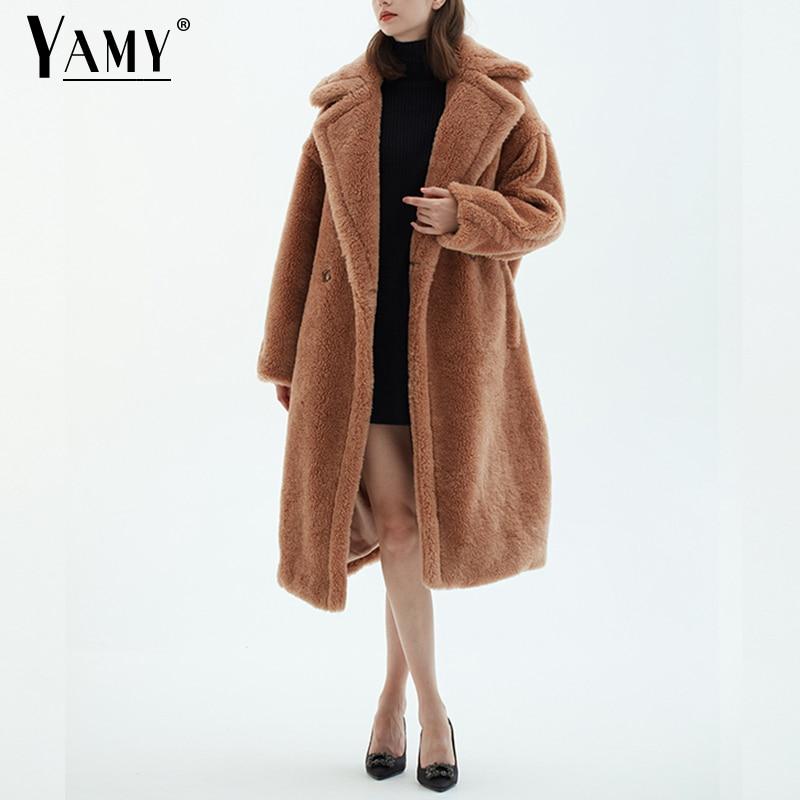 Teddy Jacket Faux Fur Coat Long Red White Pink Fur Coat Female Vintage Fur Collar Winter Coat Women Elegant Shaggy Fur Coats