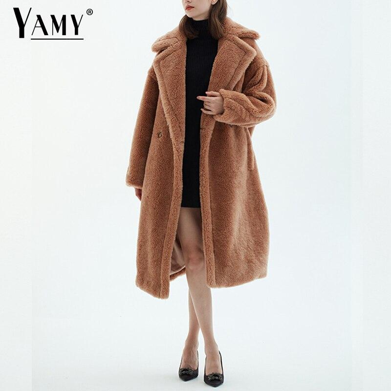 Teddy veste fausse fourrure manteau long rouge blanc rose fourrure manteau femme vintage col de fourrure hiver manteau femmes élégant shaggy fourrure manteaux