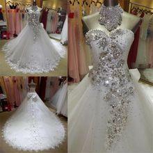 Real Sample Vestido De Noiva 2020 Ballkleid Schatz Tüll Spitze Kristall Perlen Elegante Hochzeit Kleider Lange Zug KA04M