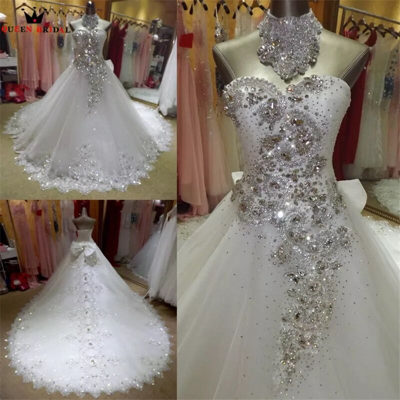 Uma Amostra Real Vestido De Noiva 2019 vestido de Baile Querida Tulle Lace Frisada de Cristal Elegantes Vestidos de Casamento Long Train KA04M