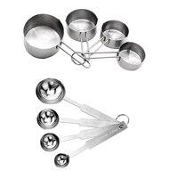 Colheres de medição de aço inoxidável e copos combinados  para assar e aparelhos de cozinha  conjunto de 8  prata Colheres dosadoras     -