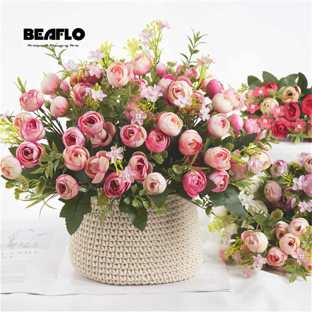 1 Bouquet 13หัวประดิษฐ์ดอกไม้Rose Tea Budดอกไม้ผ้าไหมปลอมดอกไม้FloresสำหรับDIYบ้านสวนงานแต่งงานตกแต่ง