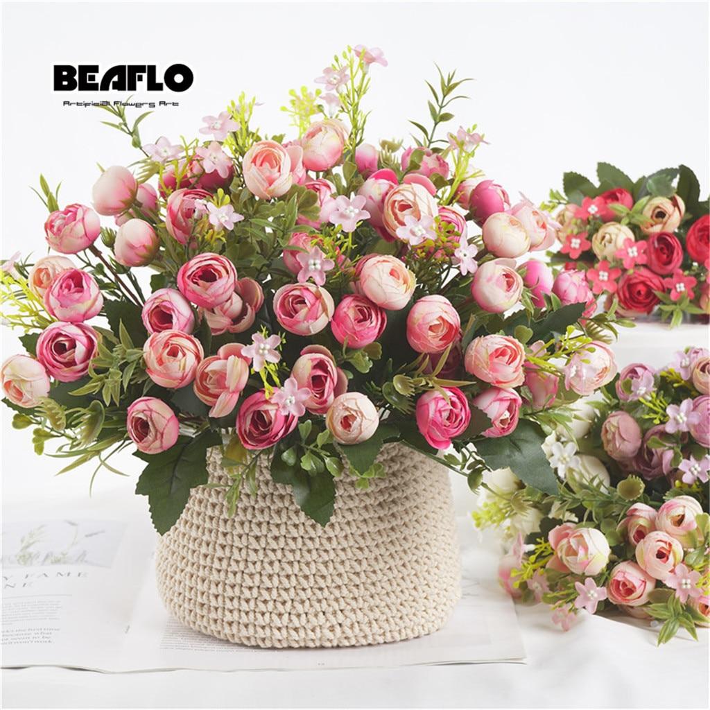 1 Bouquet 13 köpfe Künstliche Blumen Rose Tee Knospe Blume Silk Gefälschte Blume flores für DIY Home Garten Hochzeit Dekoration