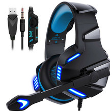 For PC PS4 Xbox One Mobile 1pc Professional Wired Gaming Headset E-sports Gamer Headphone With LED Light Mic(China)