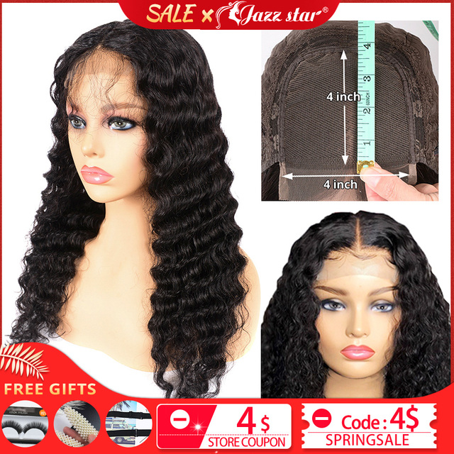 $ US $44.03 Brazilian 4X4 Lace Closure Wig Deep Wave Wig Human Hair Wigs Lace Wig Pre-Plucked With Baby Hair Jazz Star Non-Remy 150% density