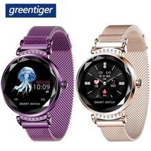 Greentiger moda feminina h2 relógio inteligente freqüência cardíaca pressão arterial monitor de sono à prova d3d água 3d diamante vidro senhora smartwatch