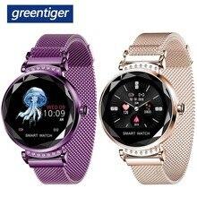 Greentiger moda kobiety H2 inteligentny zegarek tętno ciśnienie krwi wodoodporny Monitor snu 3D diamentowe szkło Lady Smartwatch