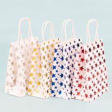 10 Pcs/lot 21*15*8cm Striped stars Hot stamping Paper Bags With Handle birthday Party New Year  Multifuntion Package