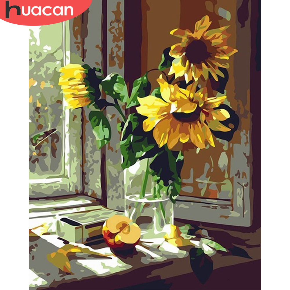 HUACAN Oil Painting By Numbers Sunflowers HandPainted Coloring Drawing Kits Canvas DIY Pictures Home Decoration Gift