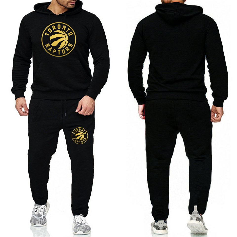 Europe And America Popular Brand Print Stripes Case Men And Women Sports Casual Sports Raptors Printed Hoodie + Sweatpants