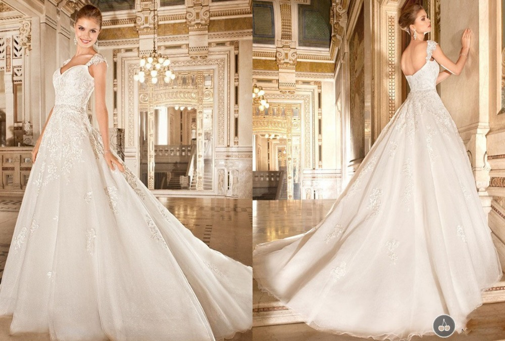 Attractive A-Line Appliques White Ivory Cap Sleeve Wedding Dress Bridal Gown Floor Length Bridal Wedding Gown Sweetheart F663