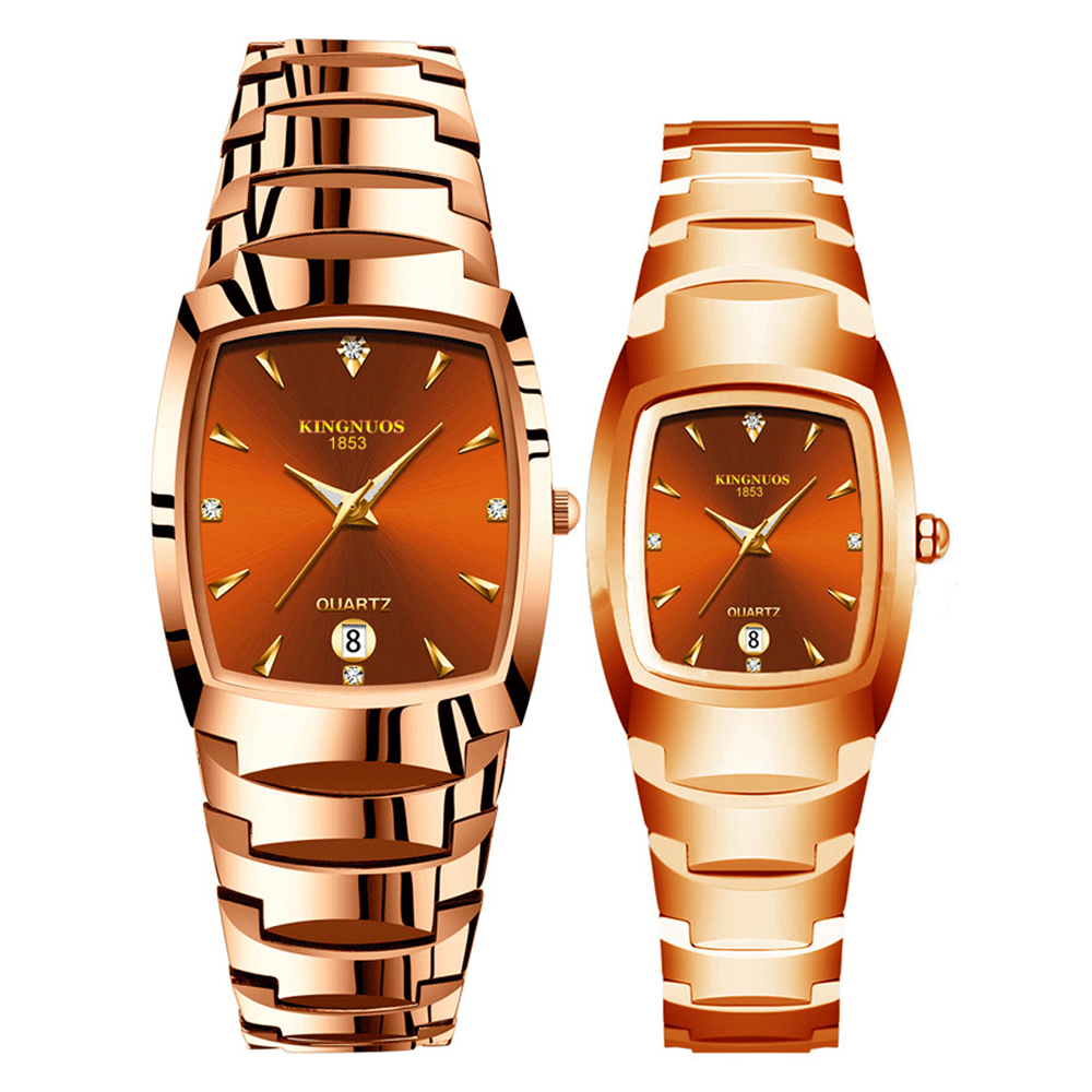 Kingnuos Quartz Wristwatches For Lovers Tungsten Steel Color Coffee Gold Fashion Couple Watches For Men And Women Watches 1 Pair