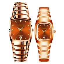 Kingnuos Quartz Wristwatches for Lovers Tungsten Steel Color Coffee Gold Fashion Couple