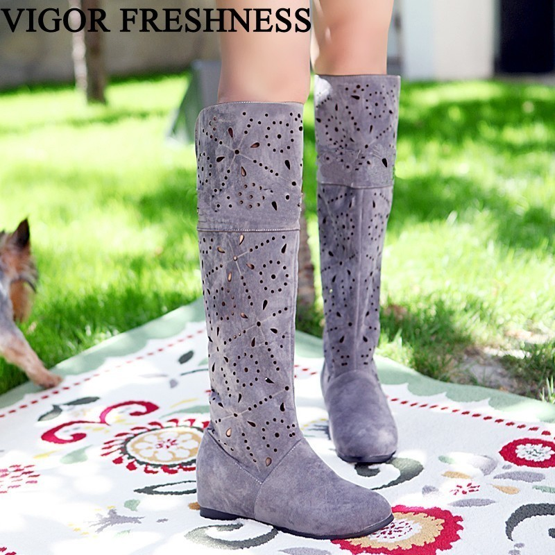 VIGOR FRESHNESS Boots Women Shoes Spring Knee High Cutout Woman Boots Summer Shoes Breathable Autumn Sexy Boots Eyelet MY175